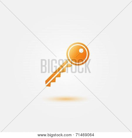 Yellow key icon - vector gold key symbol