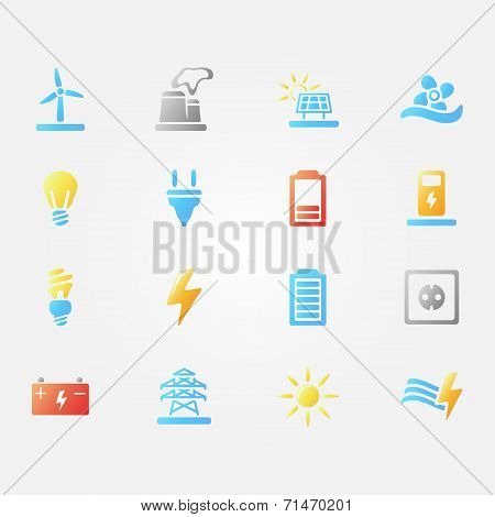 Bright vector energy icons