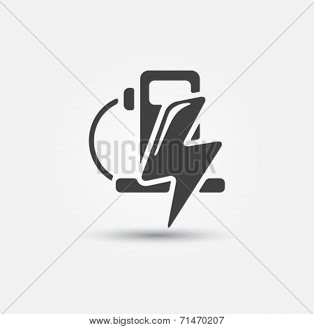 Electric fueling stations icon - vector concept of electromobile Charge station