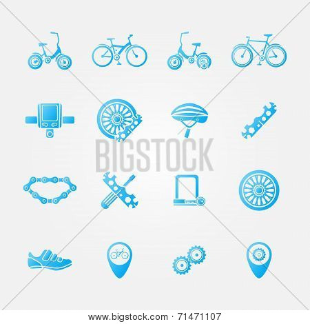 Blue bicycle icon vector set