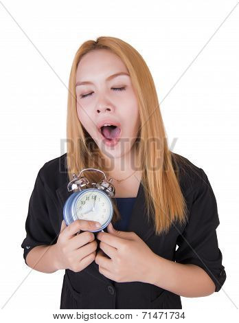 Business Woman With Alarm Clock