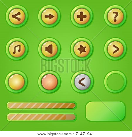Game design interface green set - vector progress bars and game buttons for mobile apps gui concept