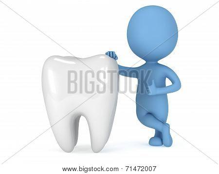 3D Blue Man Stand Near Tooth