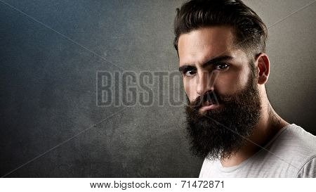 Portrait Of A Brutal Bearded Man