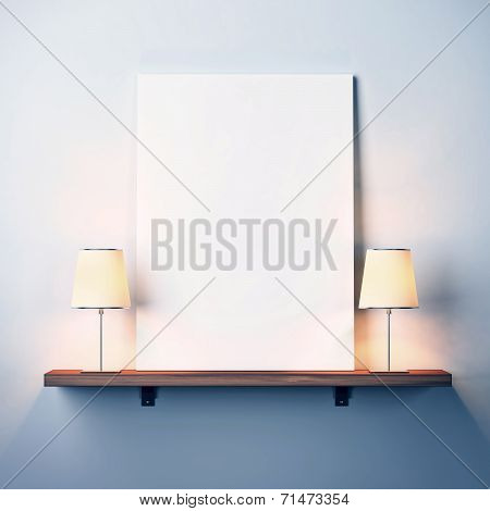 Shelf With White Poster And Two Lamps
