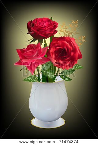 illustration with three roses in white vase
