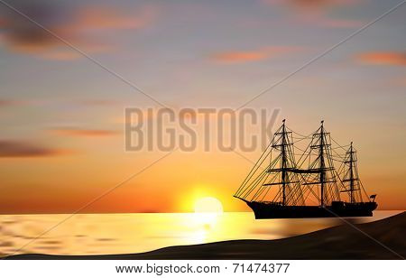 illustration with ship silhouette at orange sunset