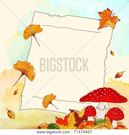 Colorful Autumn Background With Leaf And Notepaper