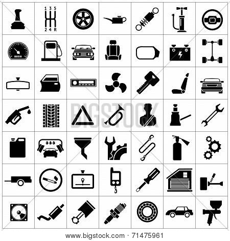 Set Icons Of Auto, Car Parts, Repair And Service