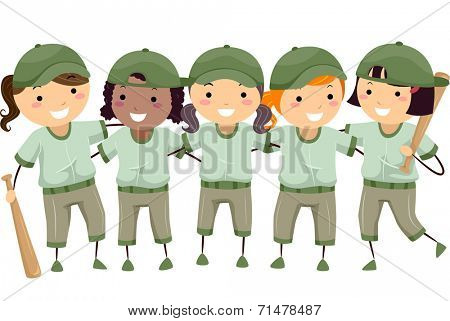 Illustration Featuring a Group of Girls Dressed in Baseball Gear