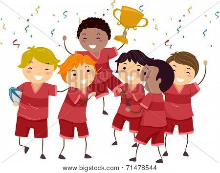 Illustration Featuring a Group of Kids Celebrating Their Championship Win