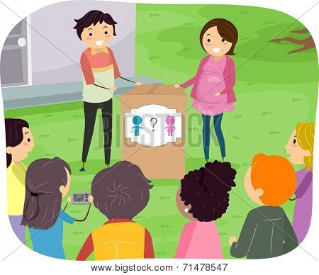Illustration Featuring a Couple About to Reveal Their Child's Gender