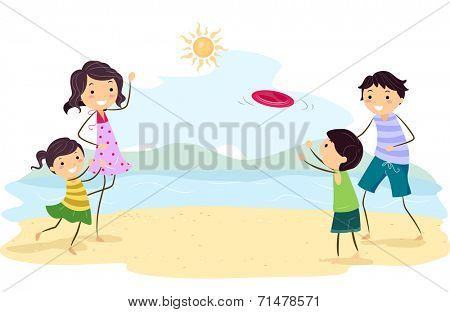 Illustration Featuring a Family Playing Frisbee by the Beach