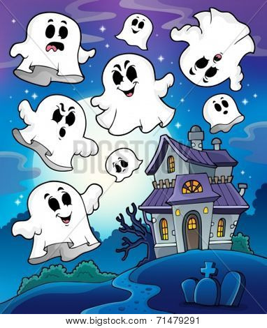 Haunted house theme image 6 - eps10 vector illustration.