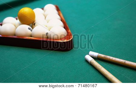 Billiards. Top View Of Billiard Balls And Cues