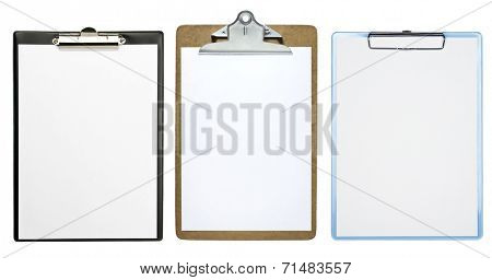 Clipboards with a blank sheet of paper isolated on white background