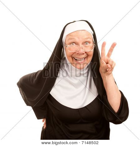 Funny Nun Making Peace Sign