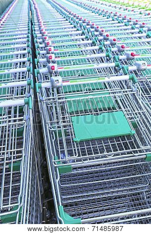 Rows Of A Plurality Of Shopping Trolleys In A Supermarket