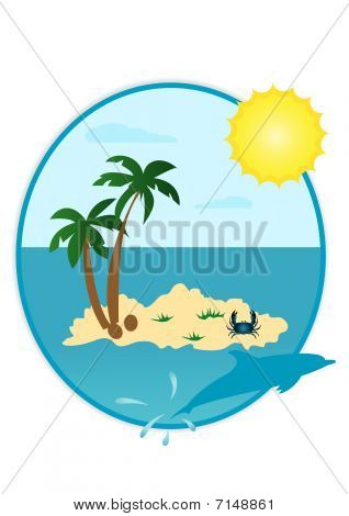 Illustration of summer landscape in round shape