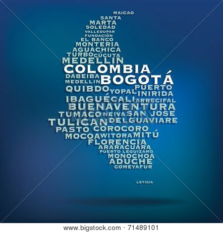 Colombia map made with name of cities - vector illustration