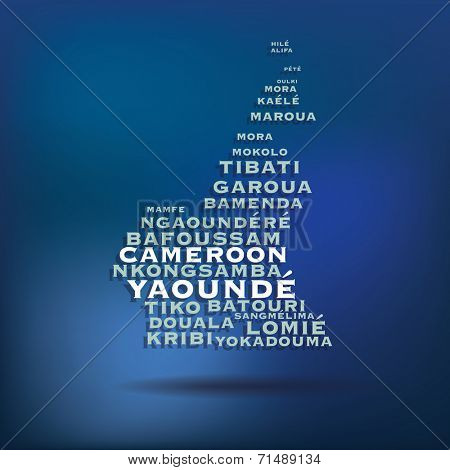 Cameroon map made with name of cities - vector illustration