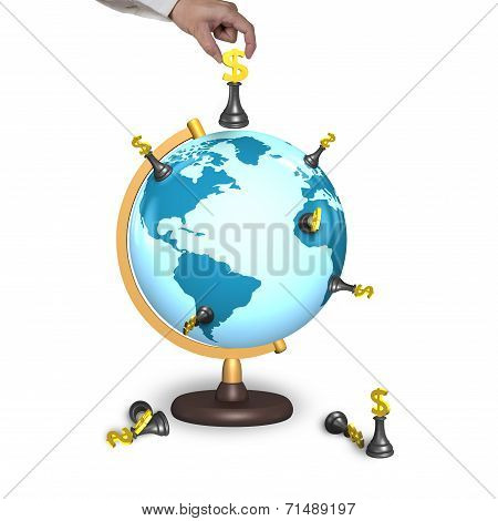 Hand Holding Chess With Terrestrial Globe