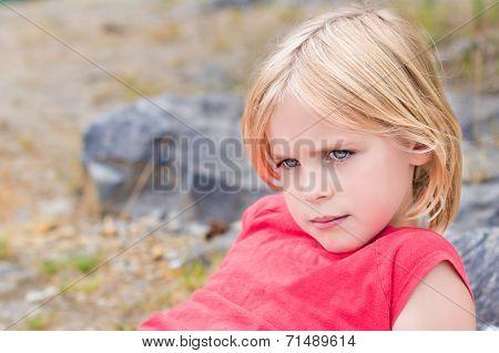 Beautiful Little Blond Girl Relaxing