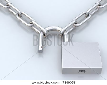 Chains And Opened Padlock