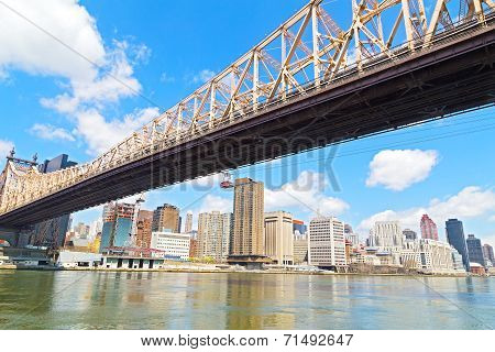 Queensboro Bridge and Roosevelt Island Tramway over East River in New York city.