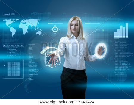 Attractive Blonde Navigating Futuristic Interface