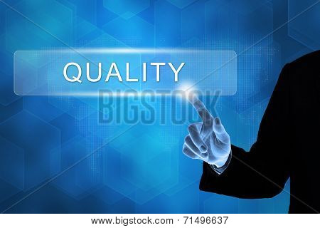 Business Hand Pushing Quality Button