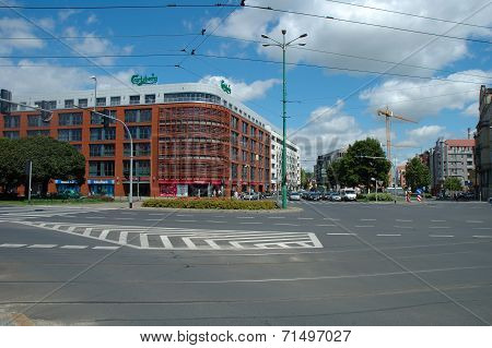 Traffic On Junction On Garbary Street In Poznan, Poland