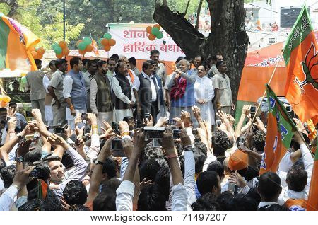 Celebration after BJP wins the election