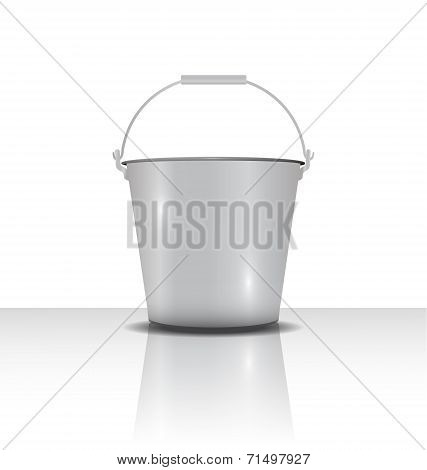 Metal Bucket With Handle  Vector Illustration