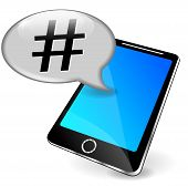 picture of hashtag  - illustration of mobile phone with hashtag speech bubble - JPG