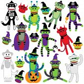 stock photo of sock-monkey  - Vector Collection of Adorable Halloween Themed Sock Monkeys - JPG