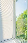 pic of louvers  - closed plastic blinds on the window with the reflection in the glass - JPG
