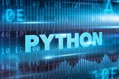 foto of python  - Python concept blue background with blue text - JPG