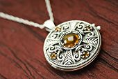 Celtic Siver And Amber Locket