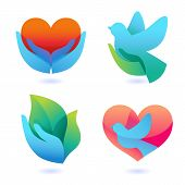 pic of peace-sign  - Vector set with signs of love and care  - JPG