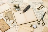 image of inkwells  - collectibles antique accessories old letters inkwell and vintage feather ink pen - JPG