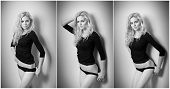 stock photo of panti-tights  - Attractive sexy blonde in black tight fit blouse and bikini posing provocatively  - JPG