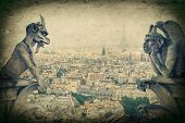 picture of gargoyles  - Stone demons gargoyle und chimera with Paris city on background - JPG