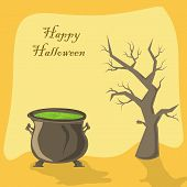 picture of witches cauldron  - Halloween witches cauldron with green potion and tree on orange background illustration - JPG