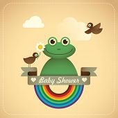 stock photo of baby frog  - Baby shower illustration with comic frog - JPG