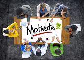 stock photo of motivation talk  - Group of People Brainstorming about Motivate Concept - JPG