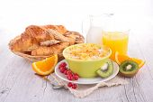foto of croissant  - breakfast with cornflakes - JPG