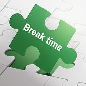 image of time-piece  - break time on green puzzle pieces background - JPG