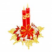 image of poinsettias  - Christmas two candles with ribbon and poinsettia and berries and golden leaves vector illustration - JPG