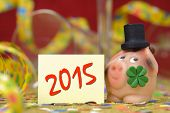 stock photo of red clover  - New year 2015 with talisman and clover leaf - JPG